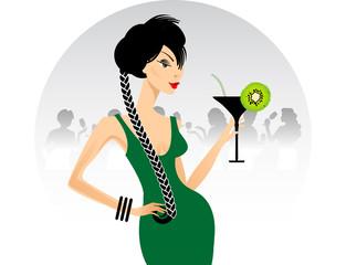 Ragazza con cocktail kiwi