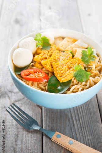 Spicy curry instant noodles soup