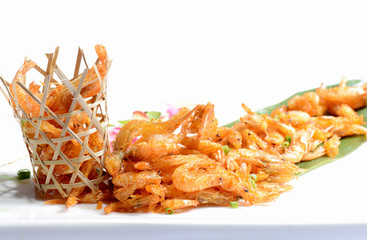 Chinese Food: Fried Shrimp in a bamboo basket