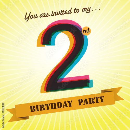 2nd Birthday party invite/template design retro style - Vector