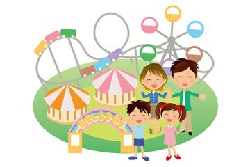 遊園地と家族