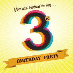 3rd Birthday party invite/template design retro style - Vector