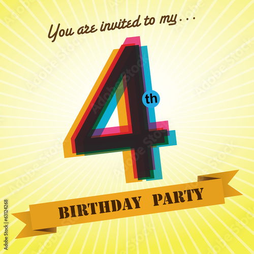 4th Birthday party invite/template design retro style - Vector