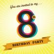 8th Birthday party invite/template design retro style - Vector