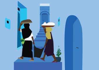 Two women in an alley