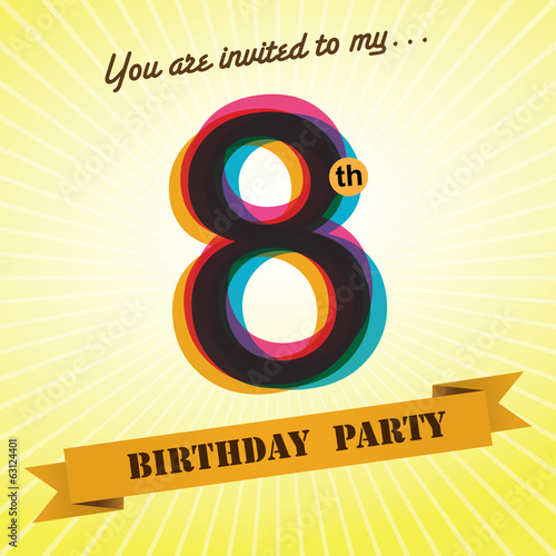 8th Birthday party invite/template design retro style - Vector