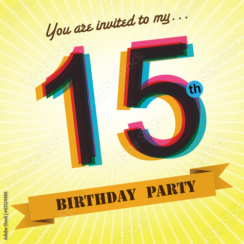 15th Birthday party invite/template design retro style - Vector