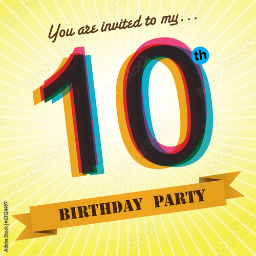 10th Birthday party invite/template design retro style - Vector