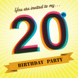 20th Birthday party invite/template design retro style - Vector