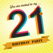 21st Birthday party invite/template design retro style - Vector