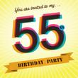 55th Birthday party invite/template design retro style - Vector