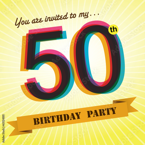 50th Birthday party invite/template design retro style - Vector