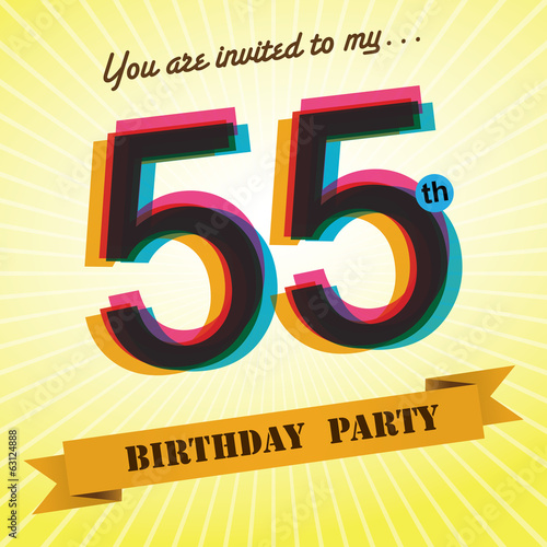 55th Birthday party invite/template design retro style - Vector