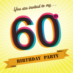 60th Birthday party invite/template design retro style - Vector
