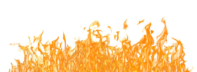 yellow fire long strip isolated on white