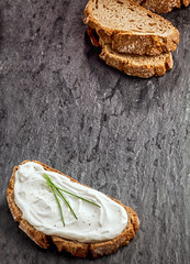 Savory cream cheese on rye bread