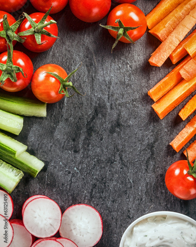Frame of fresh vegetable crudites