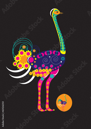 Decorated ostrich