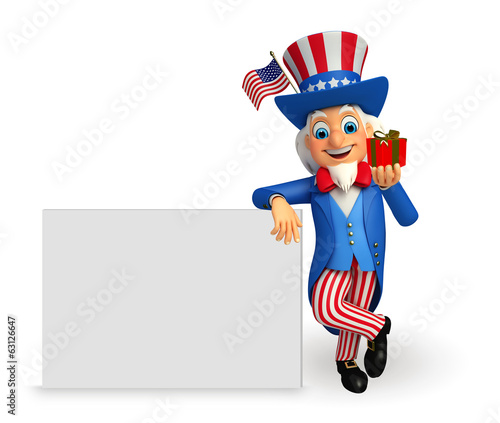 Illustration of Uncle Sam with big sign