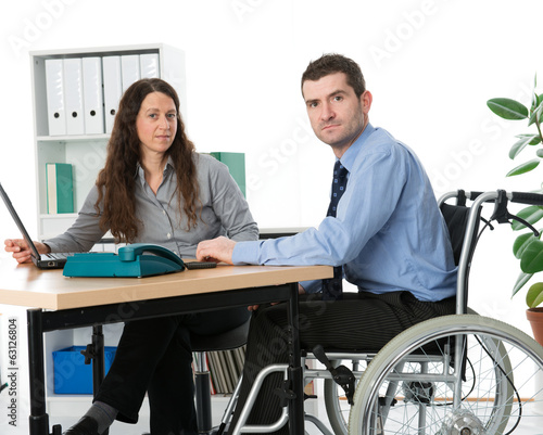 wheelchair user on workplace