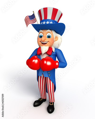 Illustration of Uncle Sam with boxing gloves