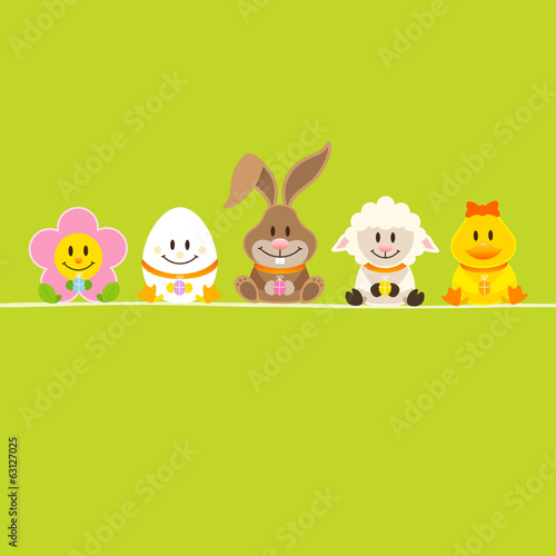Cute Easter Rabbit & Friends Easter Card Green