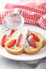 french toast with strawberry for breakfast