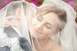 Closeup portrait of groom kissing bride in neck under veil