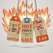 3 Vintage Hot Price Sticker Fire