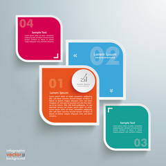 Round Colored Quadrates Template 4 Options Bevel Line