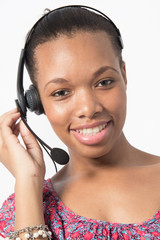 black call center agent talk to client