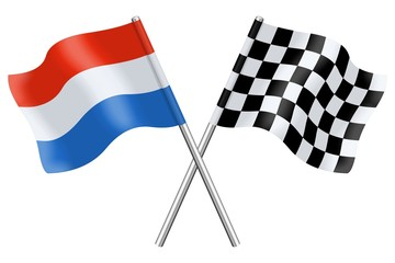 Flags : Luxembourg and checkerboard