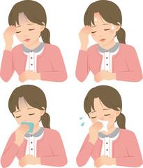頭痛、発熱、悪寒、鼻水の症状