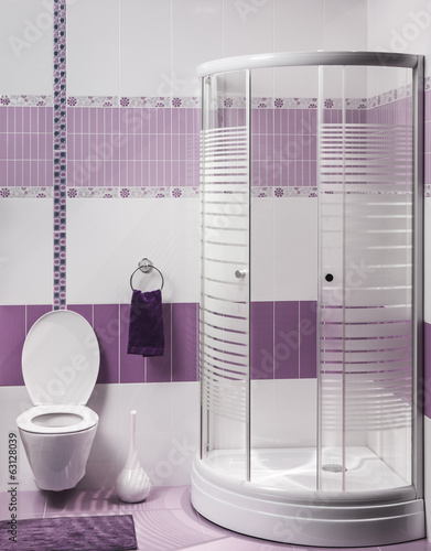 detail of a modern bathroom interior with luxury shower and toil