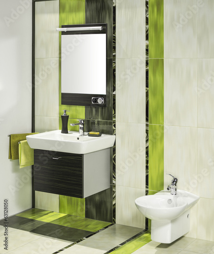 detail of a modern bathroom interior with miror and bidet