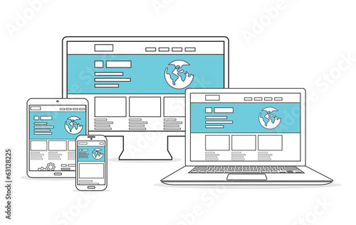 Website development and marketing vector. Responsive devices.