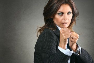 Fighting business woman