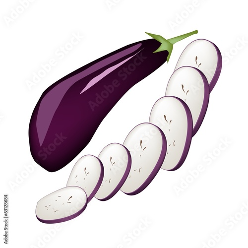 Fresh Purple Eggplant on A White Background