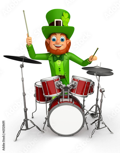 Leprechaun for patrick's day with drum set