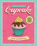 Fototapety Cupcake poster design in retro style