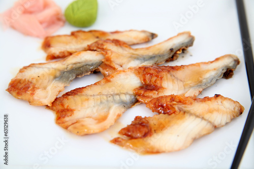 Eel sashimi, sushi.  Traditional japanese food