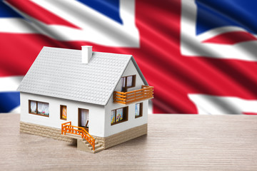 classic house against British flag background