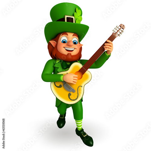 Leprechaun for patrick's day with guitar