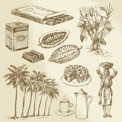 chocolate collection - hand drawn vector illustration