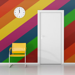 A wall clock on the colored wall in the waiting room. Wait here!