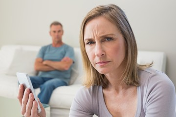 Unhappy couple not talking after an argument
