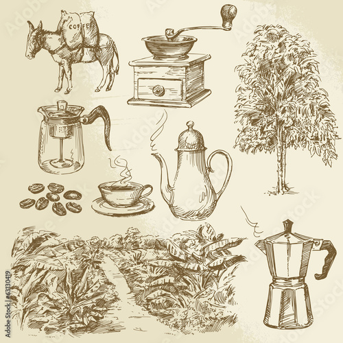 coffee collection - hand drawn vector illustration