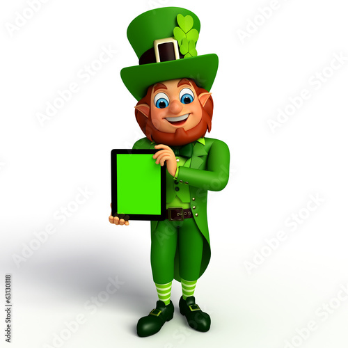 Leprechaun for patrick's day with ipad