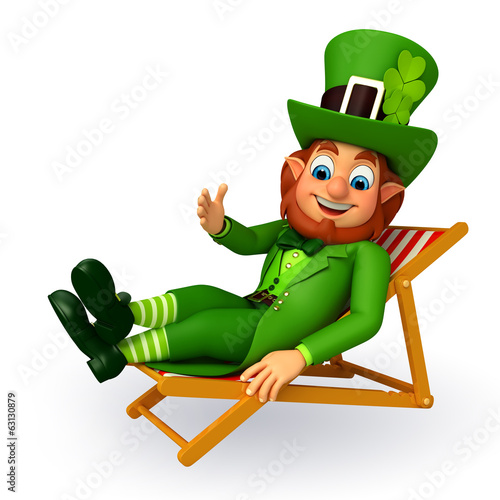 Leprechaun for patrick's day is sitting on the chair