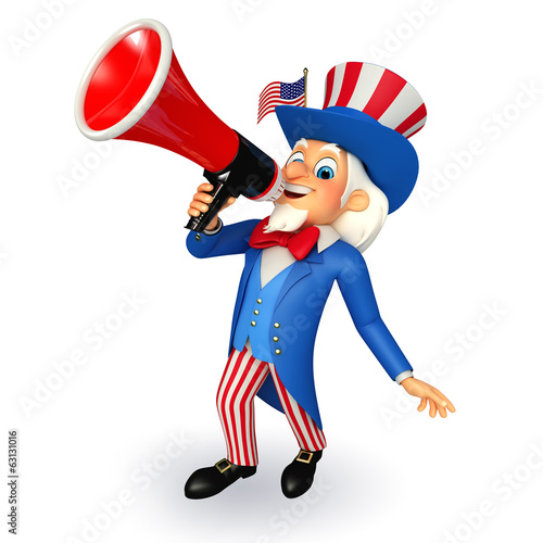 Illustration of Uncle Sam with smoking pipe